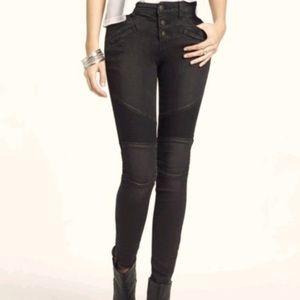 FREE PEOPLE Black Moto High Rise Skinny Jeans